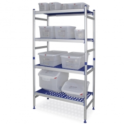 Aluminiumregal für den Hygienebereich, Stecksystem, BxTxH 975 x 475 x 1675 mm