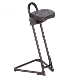 Stehhilfe, Stahlrohr-Gestell schwarz, Sitz aus pflegeleichtem, strapazierfähigem PU-Schaum