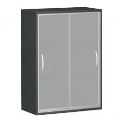 Glas-Flügeltürenschrank PRO, 3 Ordnerhöhen, graphit, BxTxH 400x425x1152 mm