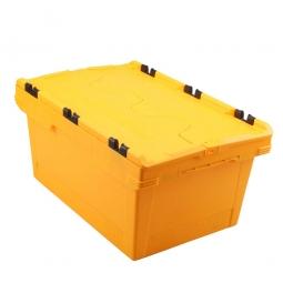 Universal Klappdeckelbox, verplompbar, LxBxH 600 x 400 x 200 mm, 29 Liter, gelb