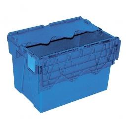 Mehrwegbehälter mit anscharnierten Deckeln, ALC64400, blau, LxBxH 600x400x400 mm