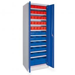 Schrank mit Regalkästen rot, LxBxH 400 x 91 x 81 mm + blau, LxBxH 400 x 183 x 81 mm, Türen in enzianblau RAL 5010