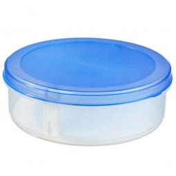 Tortenbox mit Tortenheber, 8,3 Liter, ØxH 350x120 mm, Box glasklar, Deckel blau
