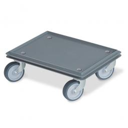 Transportroller für 400 x 300 mm Eurobehälter, geschlossenes Deck, 4 Lenkrollen mit grauen Gummirädern, grau