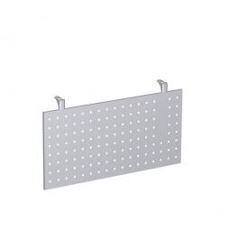 Knieraumblende für 90°-Platte, aus Stahlblech, gelocht, Höhe 400 mm, Farbe silber