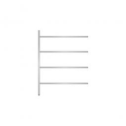 Aluminium-Anbauregal mit 4 geschlossenen Regalböden, Stecksystem, BxTxH 1375 x 500 x 1800 mm, Nutztiefe 440 mm
