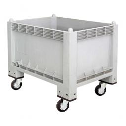 Volumenbox / Industriebox mit 4 Lenkrollen, 300 Liter, LxBxH 1000 x 700 x 790 mm, Wände/Boden geschlossen, grau