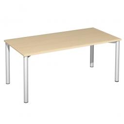 Schreibtisch Komfort, Gestell silber, Dekor Ahorn, BxTxH 1800x800x720 mm