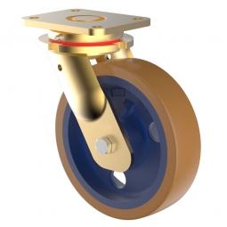 Schwerlast-Bockrolle, Polyurethan, Grauguss, Rad-ØxB 200 x 50 mm, Tragkraft 1000 kg