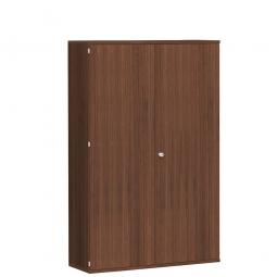 Garderobenschrank PRO, Nussbaum, BxTxH 1200x425x1920 mm, 5 Fachböden, 1 Kleiderstange