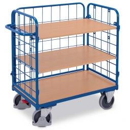 Etagenwagen mit 3 Wänden und 3 Böden, LxBxH 1390 x 825 x 1220 mm, Tragkraft 500 kg