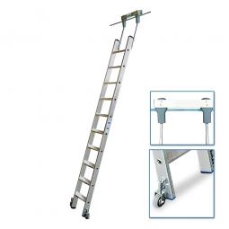 Aluminium-Stufenregalleiter, fahrbar, Mit 10 Stufen, senkrechte Einhängehöhe von 2610 bis 2830 mm
