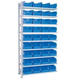 Anbauregal, verzinkt, HxBxT 2000x1035x315 mm, 9 Böden, 36 Sichtboxen LB 3 Farbe blau