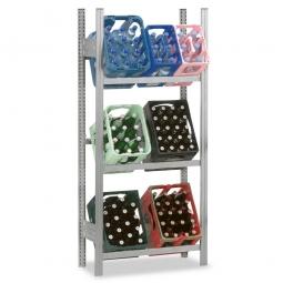 Getränkekistenregal, Grundregal, Stecksystem, BxTxH 810 x 335 x 1750 mm, verzinkt