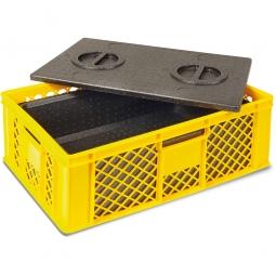 Eurobehälter mit EPP-Isolierbox, LxBxH 600 x 400 x 230 mm, 20 Liter, gelb