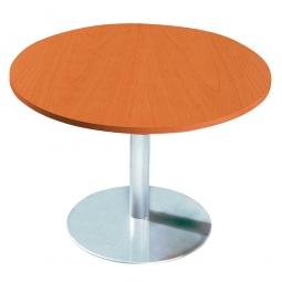 Konferenztisch mit Säulenfuß, verchromt, Platte Kirsche, Ø 800 mm, Höhe 720 mm