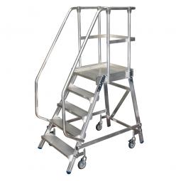 Aluminium-Podestleiter LPLE 5, einseitig besteigbar, 5 geriffelte Stufen mit Handläufen