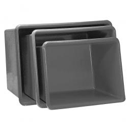 Rechteckbehälter aus GFK, Inhalt 550 Liter, grau, LxBxH 1320x970x630 mm, Gewicht 19 kg