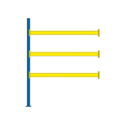 Paletten-Anbauregal für 12 Europaletten, Tragbalkenebenen mit 38 mm Spanplattenböden, Fachlast 2900 kg/Tragbalkenpaar, BxTxH 2785 x 1100 x 3500 mm