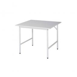 Arbeitstisch mit Melaminharz-Tischplatte, BxTxH 1000x1000x800-850 mm, Gestell lichtgrau RAL 7035