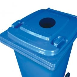 Müllbehälter mit Einwurfloch, BxTxH 580 x 740 x 1070 mm, 240 Liter, Farbe blau