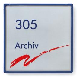 "Türschild ""Rom"", enzianblau RAL 5010, 180x180 mm"