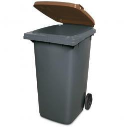240 Liter MGB, Müllbehälter in anthrazit mit braunem Deckel