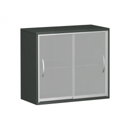 Glas-Flügeltürenschrank PRO, 2 Ordnerhöhen, graphit, BxTxH 400x425x768 mm