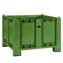 Palettenbox mit 4 Füßen, LxBxH 1200 x 800 x 850 mm, grün, Boden/Wände geschlossen. Tragkraft 500 kg