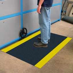 Bodenmatte, mit Strukturoberfläche, schwarz/gelb, LxB 600x900 mm, Stärke 9 mm, Vinyl-Schaum-Belag