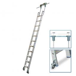 Aluminium-Stufenregalleiter, fahrbar, Mit 12 Stufen, senkrechte Einhängehöhe von 3080 bis 3300 mm