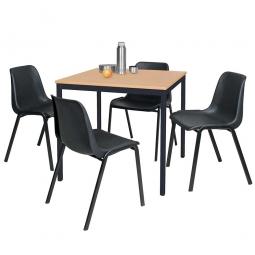 5-teiliges Tischgruppe-Komplettangebot, bestehend aus: 4 Schalenstühlen und 1 Tisch, BxTxH 800 x 800 x 750 mm, Buche Dekor / schwarz