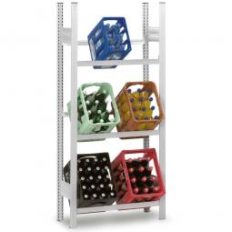 Getränkekistenregal, Grundregal, Stecksystem, BxTxH 810 x 335 x 1750 mm, lichtgrau