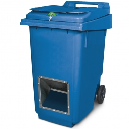 Streugutbehälter mit Entnahmeöffnung und Schließung, blau, 360 Liter, HxBxT 1100 x 600 x 875 mm