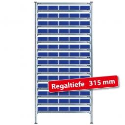Steckregal, verz., HxBxT 2000x1070x315 mm, 15 Ebenen, 70 Regalkästen LxBxH 300x183x81 mm, blau
