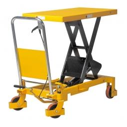 Scheren-Hubtischwagen, Plattform 850x500 mm, 2 Lenkrollen mit Feststeller und 2 Bockrollen, Rad-Ø 125 mm