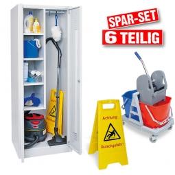 """Spar-Set """"Reinigung"""", 6-teilig, mit Putzmittelschrank, Nasswischwagen und Warnschild"""