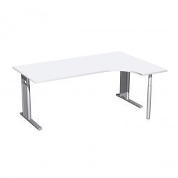 Schreibtisch PREMIUM, Schrankansatz rechts, Weiß/Silber, BxTxH 1800x800/1200x680-820 mm