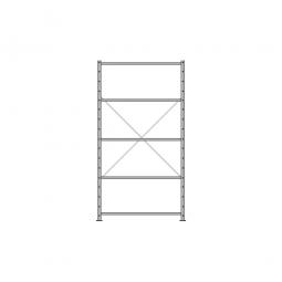 Fachbodenregal Economy mit 5 Böden, Stecksystem, BxTxH 1060 x 435 x 2000 mm, Tragkraft 150 kg/Boden, kunststoffbeschichtet