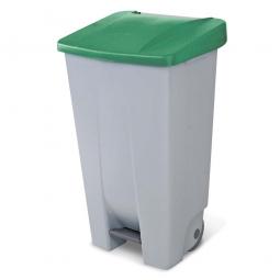 Tret-Abfallbehälter mit Rollen, PP, BxTxH 510 x 430 x 880 mm, 120 Liter, grau/grün