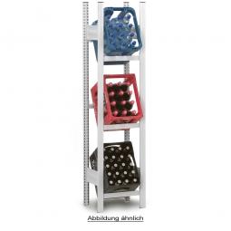 Getränkekistenregal, Anbauregal, Stecksystem, BxTxH 510 x 335 x 1750 mm, lichtgrau