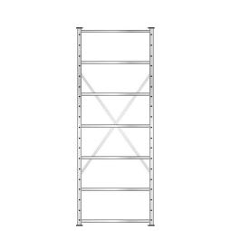 Fachbodenregal mit 7 Böden, Stecksystem, Grundregal, doppelseitige Ausführung, BxTxH 870 x 630 (2x315 mm) x 2300 mm, Oberfläche glanzverzinkt