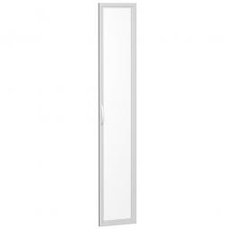 Flügeltür FLEX, 6 Ordnerhöhen, mit Glasausschnitt, Breite 400 mm, mit Metallscharnieren und Türdämpfern