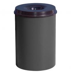 Sicherheits-Papierkorb, Inhalt 15 Liter, lichtgrau, HxØ 360x255 mm, Stahlblech, Einwurföffnung Ø 110 mm