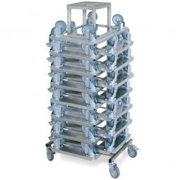Rollerständer aus Edelstahl mit 15 Aluminium-Rollern mit 4 Lenkrollen und 2 Feststellbremsen
