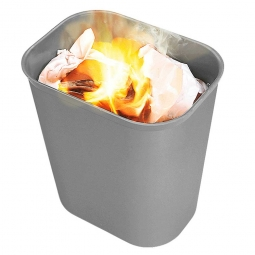 Feuerfester Abfallkorb aus Fiberglas, Inhalt 26,5 Liter, grau