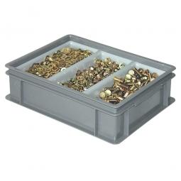 Sortierbehälter LxBxH 400x300x120 mm, grau, mit 3-Mulden-Sortiereinsatz, Gewicht 1,4 kg