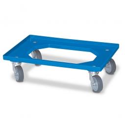 [B-Ware] - NormRoller für Euro-Stapelbehälter 600x400 mm, blau, 4 Lenkrollen, graue Gummiräder