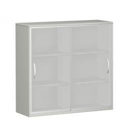 Glas-Schiebetürschrank PRO 3 Ordnerhöhen, lichtgrau, BxHxT 1200x1152x425 mm