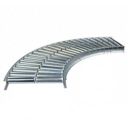 Leicht-Rollenbahnkurve: 90°, Innenradius: 800 mm, Bahnbreite: 600 mm, Achsabstand: 100 mm, Tragrollen Ø 50x1,5 mm